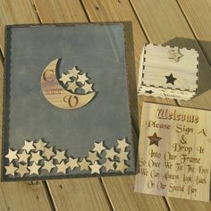 Moon and star guest book drop box package...sale!!