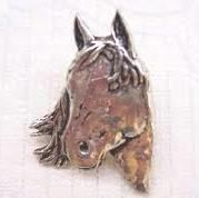 Horses Head Brooch Pin made from finest UK pewter, gift boxed.