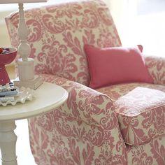 pink and cream damask