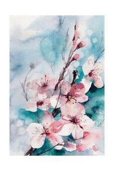 Art Print Aqua Blossoms By Sophia Rodionov 24x16in