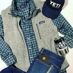 Products: Patagonia Men's Better Sweater Vest , Yeti Hat and Yeti Colster, and Vineyard Vines Button Down. Instagram: haysco_outfitters