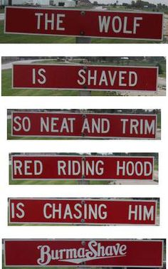 Burma Shave along the roadside