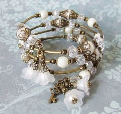Floral Beaded Memory wire Bracelet  A by whiteravendesignsau, $25.00