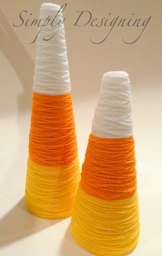quick and easy, but fun for a party decoration or something!  styrofoam cone, hot glue, yarn.