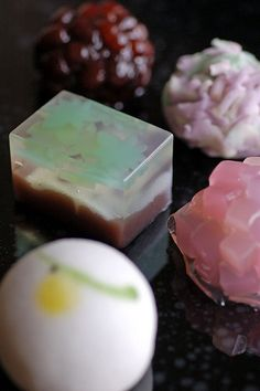 Japanese wagashi pieces.