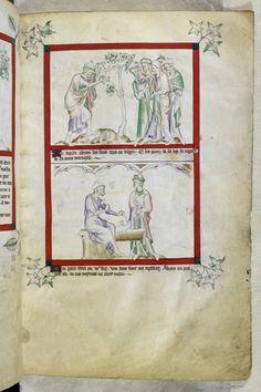 British Library Royal MS 2 B VII, 8 haut et bas Abraham and Thare sont en désaccord à propos de l'idôlatrie : Abraham a détruit des idôles, Thare en construit une autre.