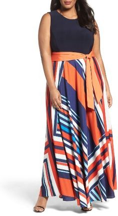 Nordstrom - Ready for the party circuit, a sleeveless maxi dress gets a chic, pulled-together look from a fitted bodice of solid navy jersey over a colorfully printed A-line skirt of flowy crepe de Chine. A circle cutout in back adds a flirty touch, while a lush sash accentuates the waist. Brand: ELIZA J. Style Name:Eliza J Tile Print Jersey & Crepe Maxi Dress (Plus Size).