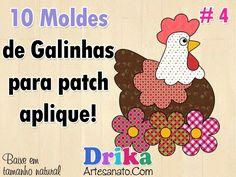 10 Moldes de Galinhas e Galos para Patch Aplique