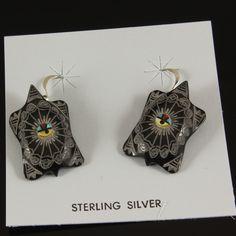 Rare Zuni Sunface Tortoise Earrings Dilbert Gaspar