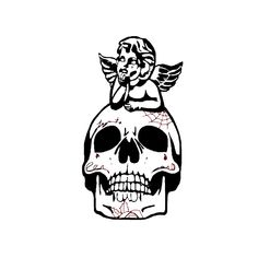 #skulltattoos #skull #tattoo #angel #angeltattoo  #flashtattoo #blackandwhite #facetattoos Flash Tattoo, Fallout Vault, Darth Vader, Skull, Angel, Fictional Characters, Fantasy Characters, Skulls, Sugar Skull