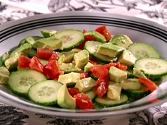 Cucumber-Tomato-Avocado Salad with Tequila-Lime Vinaigrette from FoodNetwork.com