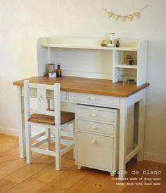 2ドロワーズ学習机セット|テーブル・机|cafe de blanc|ハンドメイド通販・販売のCreema