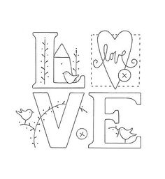 L.O.V.E. embroidery pattern..