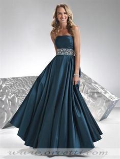Dark teal taffeta strapless floor length a-line dress
