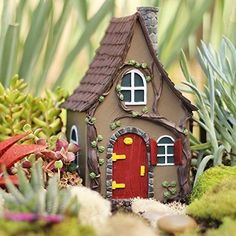 Trasfit 4 Pieces Miniature Fairy Garden Stone House - Mini Fairy Cottage House for Garden & Patio Decoration - Accessories for Home Decoration Outdoor Décor