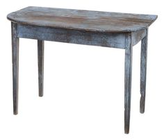 Lot 465 from our November 10-11, 2012 Auction - Southern Blue-Painted Yellow Pine Pier Table attributed to Georgia, 19th century, yellow pine throughout with pegged construction, original painted surface with red and brown over early probably original blue, 29 x 41 x 22-1/4 in. - Estimate $600 to $900