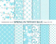 Tiffany Blue Digital paper pack, digital backgrounds - 12 jpg files 12x12 - INSTANT DOWNLOAD Pack 437