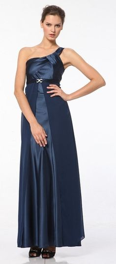 Plus Size One Shoulder Navy Dress Satin/Chiffon Full Length Gown Bridesmaid Dresses, Prom Dresses, Formal Dresses, Wedding Dresses, Navy Blue Dresses, Navy Dress, Plus Size Dresses, Plus Size Outfits, Full Length Gowns