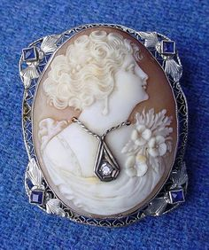 Victorian Carved Shell Cameo 14K White Gold Pin Pendant Diamond Blue Sapphires