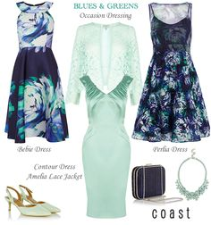 Coast duchess satin evening dresses wedding guest & Mother of the Bride outfits in blue and green