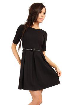 Black Magnanimous Modern Belted Tea-Length Dress LAVELIQ