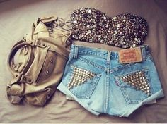 High waisted shorts + sequin tube top + slouchy purse = hot summer look!