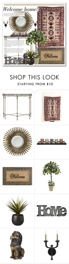 """Entryway decor idea by SFRugs"" by sfrugs ❤ liked on Polyvore featuring interior, interiors, interior design, home, home decor, interior decorating, Currey & Company, Universal Lighting and Decor, Pier 1 Imports and CB2"