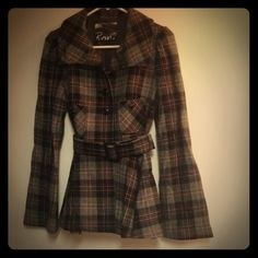 Host Pick Belted Plaid Wool Coat Belted wool coat from Roni (NYC botique). 80% wool/20% viscose rayon. Black/grey/red plaid. Flared/peplum style. Perfect condition/like new. Tough to let this one go but I just don't wear it as much as I should. Size M but fits me (around a 2/4). Super flattering & very cute. Roni Jackets & Coats