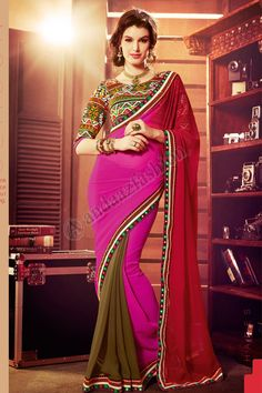 Multi Georgette Saree Design No. DMV7591 Price:- £59.00 Dress Type:Saree Fabric:Georgette Colour:             Multi Embellishments: Embroidered, Resham, Zari For More Details:- http://www.andaazfashion.co.uk/multi-georgette-saree-with-dupion-silk-blouse-dmv7591.html