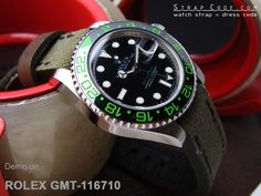 Rolex Green GMT-116710 on 20mm MiLTAT Military Green Leather Washed Canvas Ammo Watch Strap in Black Stitches [20C20BBU55C2F09]