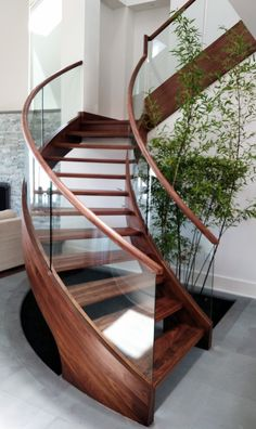 45 Luxury Glass Stairs Ideas - The function of any railing system is to add safety to a staircase while adding beauty to the home or business. A carefully designed stair railing wil. Staircase Design Modern, Spiral Stairs Design, Staircase Railing Design, Luxury Staircase, Staircase Handrail, Home Stairs Design, Curved Staircase, Interior Stairs, Spiral Staircases