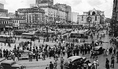 Largo da Sé e a Catedral sendo construída, São Paulo – década de 40.