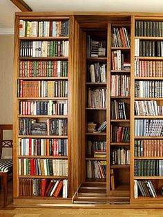 sliding-door-bookcase-wide-large-bookcase-design LOVE THIS! Home Library Design, Dream Library, House Design, Large Bookcase, Bookcase Shelves, Bookcases, Large Shelves, Library Bookshelves, Home Libraries