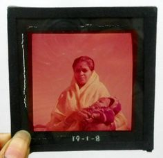 India 1930s Antique magic lantern glass Slide Photo Mother with Child #Gs-110
