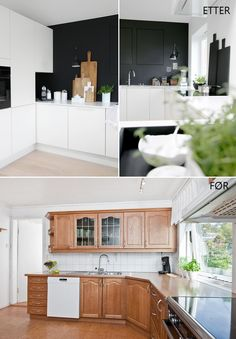 KITCHEN BEFORE AND AFTER - Therese Knutsen Kitchen Island, Kitchen Cabinets, House Plans, Kitchens, Loft, Storage, Interior, Inspiration, Home Decor