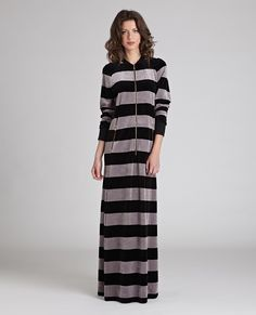 Velour Bold Stripe Long Robe at The Lingerie Shop New York