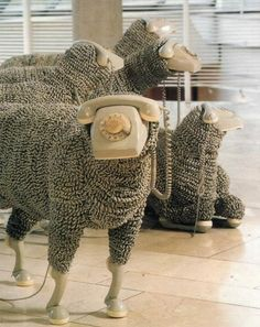 "When I'm calling. Telephone Sheep by artist Jean Luc featured in a Frankfurt museum. A flock of sheep made from old rotary phones. The ""wool"" is made of phone cords. Fabulously creative and if you blur your eyes, they really DO look like sheep! Instalation Art, Frida Art, Graphisches Design, Free Design, Art Sculpture, Modern Sculpture, Art Plastique, Oeuvre D'art, Making Out"