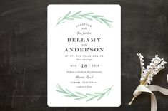 """""""Painted Leaves"""" - Wedding Invitations in Evergreen by Olivia Raufman."""