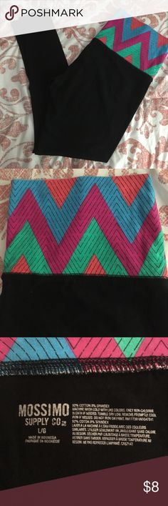 Mossimo leggings Black leggings with colorful chevron pattern on top. Rarely worn and in excellent/like-new condition. Mossimo Supply Co. Pants Leggings