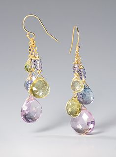 Amethyst Drop Earrings: Judy Bliss: Gold & Stone Earrings - Artful Home