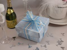 Sky blue cloud wedding favour box with blue and ivory satin ribbon