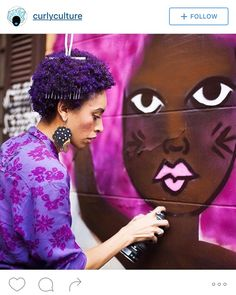 curlyculturepic || purple afro. purple fro. afro art. natural hair colored. purple natural hair. twa.