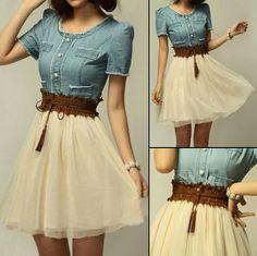 Super Cute! Light Blue Lace Embroidery Round Neck Denim Dress #Midi_Dresses #Spring #Dresses #Fashion