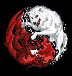 A Yin-Yang of Ice and Fire! This original hand drawn illustration features the famous Direwolf and Dragons of the GoT world. Ice and Fire by DJKopet is available now on t-shirts and accessories on Redwolf.in