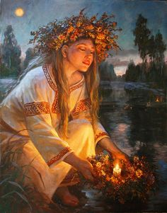 f Druid Ivana Kupala = Ancient Women's Summer Solstice Rites of honoring Mother Earth Pagan Art, Ukrainian Art, Wow Art, Summer Solstice, Russian Art, Russian Painting, Gods And Goddesses, Magick, Fantasy Art
