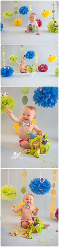 """Carter's nickname """" Our little Monster"""" gave his parents the perfect idea for his 1st Birthday cake smash! Of course it had to be a fun monsters theme! I had so much fun creating these little monsters and Carter had fun smashing his monster cake!! He is one lucky boy, as he had both sets of…"""