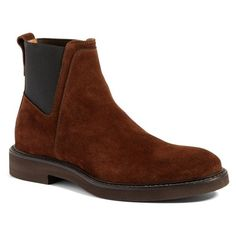 Men's Aquatalia 'Triston' Chelsea Boot (577665 IQD) ❤ liked on Polyvore featuring men's fashion, men's shoes, men's boots, brown suede, mens suede chelsea boots, mens beatle boots, mens suede boots, mens chelsea boots and mens shoes