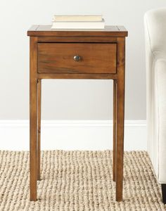 The Abel end table, in honey natural finish, evokes Craftsman style with its clean lines and practical storage. Crafted from fir wood with an ample drawer and tall straight legs, this end table will enhance casual living rooms, family rooms and bedro Furniture Deals, Fine Furniture, Living Room Furniture, Furniture Outlet, Table Furniture, Sofa End Tables, End Tables With Storage, Side Tables, Coffee Tables