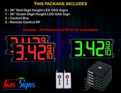 36 Inch Digits - 2 Red & 1 Green Digital GAS PRICE Gasoline LED SIGNS - Complete Package w/ RF Remote Control with housing dimension H1005mm x W2434mm x D100mmand format 8.88 9/10 comes with complete set of Control Box, Power Cable, Signal Cable & 2 RF Remote Controls (Free remote controls).