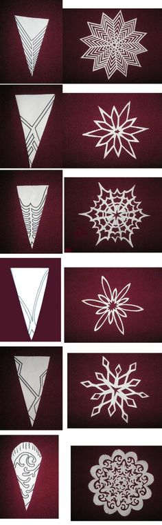 Schneeflocken aus Papier – Hmd – Let's Pin This – Origami Holiday Crafts, Christmas Crafts, Christmas Decorations, Christmas Ornaments, Christmas Paper, Christmas Snowflakes, Diy Snowflake Decorations, Camping Decorations, Christmas Templates